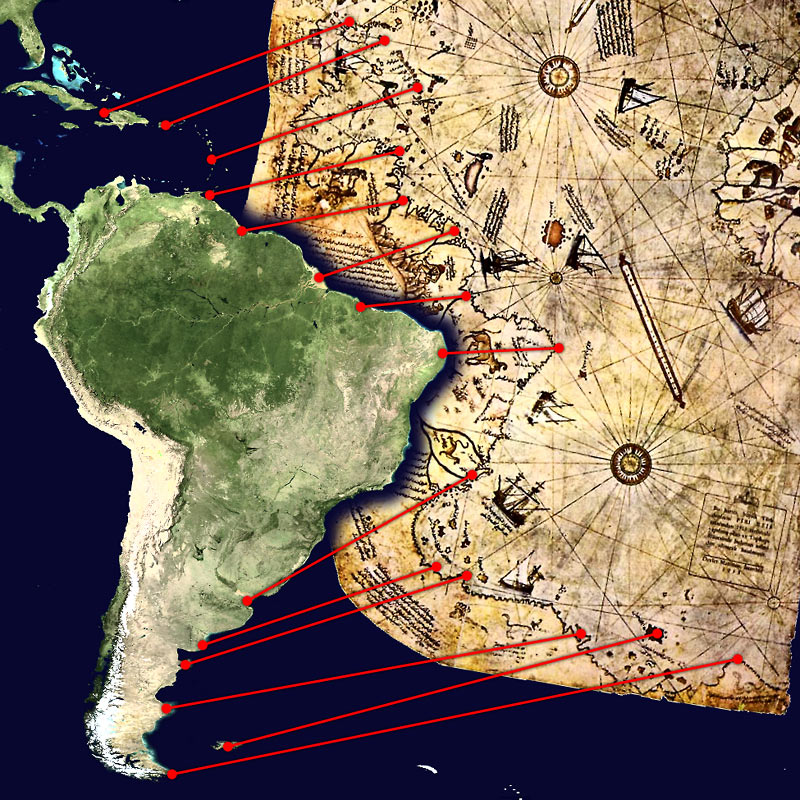 The Piri Reis map, compared to a modern satellite picture of the South American continent. Wikimedia Commons