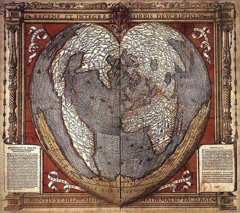 Oronce Finé's map, 1536. Wikimedia Commons