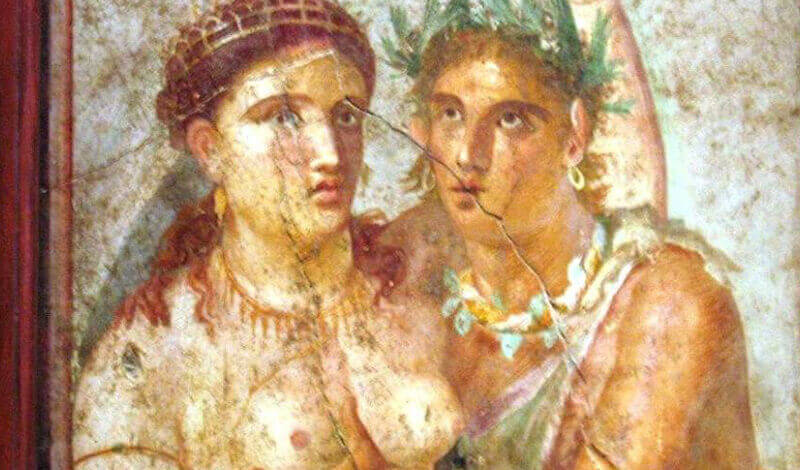 Satyr and maenad, ancient Roman fresco from Pompeii From the Casa di Caecilius Jucundus in Pompeii, Museo Archeologico (Naples)