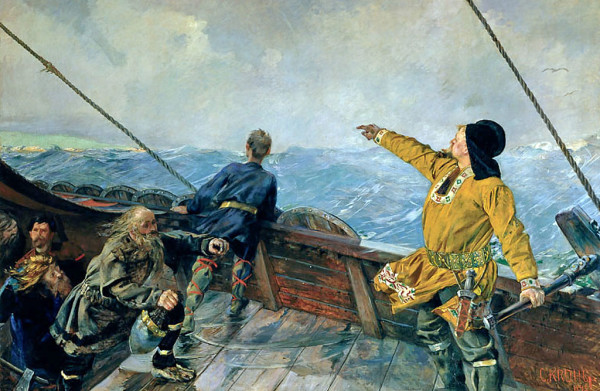 """Leif Erikson discovers America"") by Christian Krogh (1893). Wikipedia"
