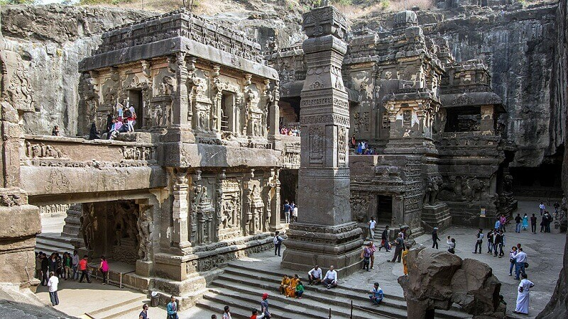 "Temple №16, or ""Kailasa temple"", is the most famous of the cave temples of Ellora. cookingintongues.com"