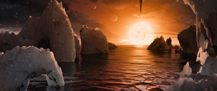 An artistic ilustration of the surface of a planet from the Trappist-1 system