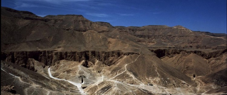 General view of the Valley of the Kings and its pharaonic tombs, near present-day Luxor, Egypt.