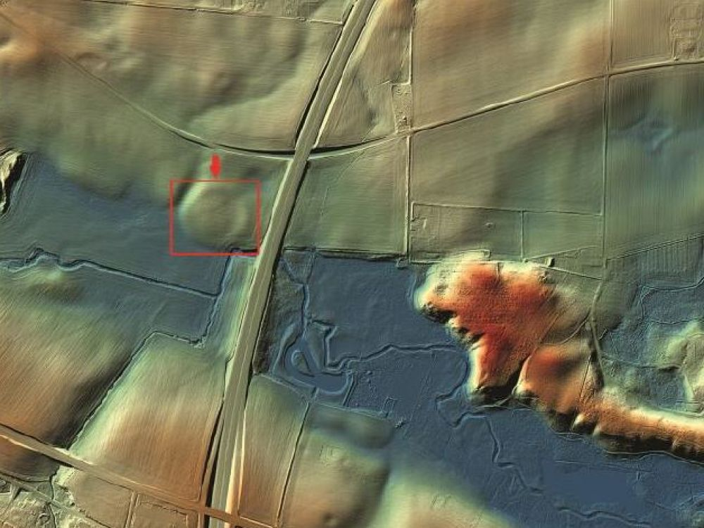 In box, the Viking fortress of Borgring, Denmark. 3D rendering from LIDAR data. CREDITS: KORT OG MATRIKELSTYRELSEN