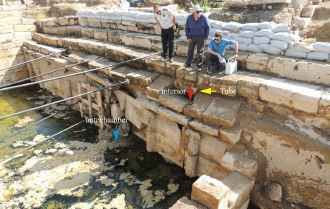 Taking measurements on the former Plutonium site in Hierapolis, Turkey. Credits: Hardy Pfanz