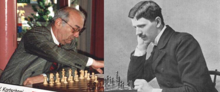 Left: Viktor Korchnoi; right: Géza Maróczy. Wikimedia Commons/ Megavselena