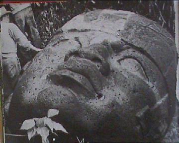 Typical Olmec stone head.