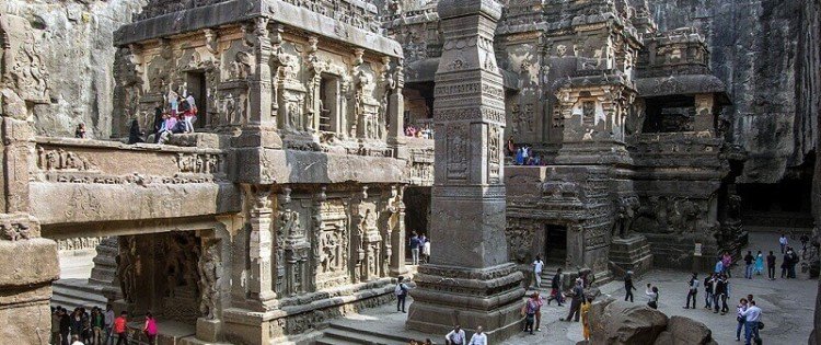 """Temple №16, or """"Kailasa temple"""", is the most famous of the cave temples of Ellora. cookingintongues.com"""