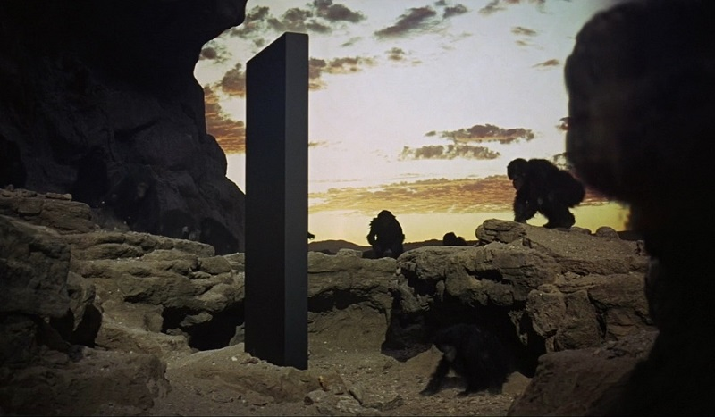 In the film of Stanley Kubrick 2001: A Space Odyssey, monkeys become human in contact with a mysterious black monolith planted in the desert. The idea has remained