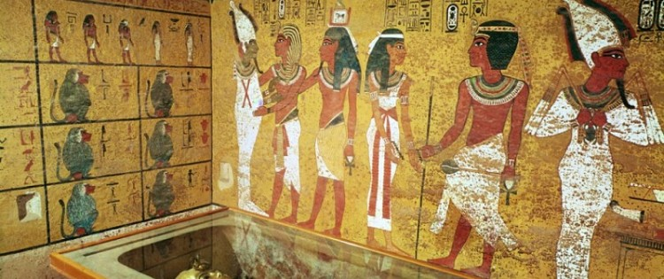 The funerary chamber of Tutankhamun, in the valley of the Kings, in Egypt.