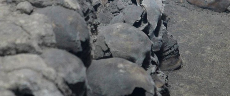 Hundreds of human skulls dating from the Atzec empire have just been discovered in Mexico City. Including women and children. CREDITS: JESSICA ESPINOSA
