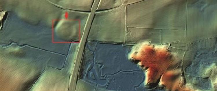 In box, the Viking fortress of Borgring, Denmark. 3D rendering from LIDAR data. CREDITS: KORT OG MATRIKELSTYRELSEN
