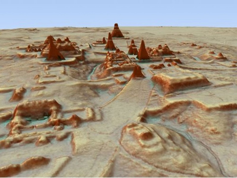 3D rendering of the Tikal site, where an unknown pyramid was revealed.